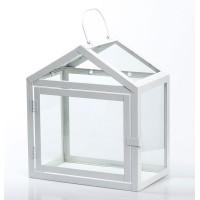 Farol decorativo metálico en color blanco grande 26x16x31h cm