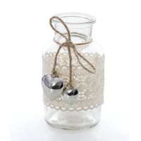Botella cristal decoración encaje y corazones metálicos plateados 6x12h cm