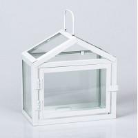 Farol decorativo metálico en color blanco pequeño 21x11x22h cm