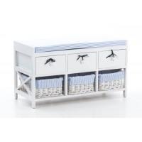 Banco auxiliar madera blanco 3 cajones estrella y 3 cestas mimbre rayas azules y blancas 80x35x45h cm