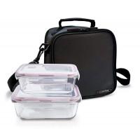 Bolsa isotérmica Basic lunchbag Iris negra + 2 contenedores herméticos de cristal