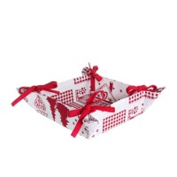 Panera tela estampado navideño en blanco y rojo 20x20x7h cm
