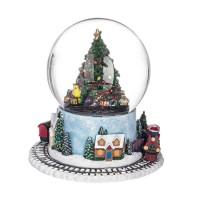Bola de nieve carillón Arbol Navidad con tren giratorio y música 16,5x16,5h cm