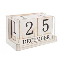 Calendario madera de paulownia blanco envejecido 17,5x9,5x11,5h cm