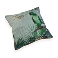 Cojín algodón con relleno loro verde y hojas palmera tropical 45x45 cm