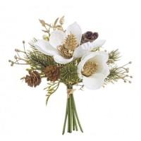 Ramo bouquet Navidad Magnolias en blanco y dorado con piñas 20cm