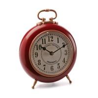 Reloj de mesa vintage rojo y dorado Ø21 cm