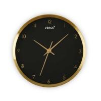 Reloj de pared aluminio dorado y esfera negra Ø25.8 cm