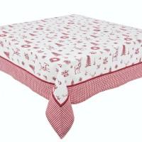 Mantel algodón estampado motivos navideños en rojo y blanco 140x280cm