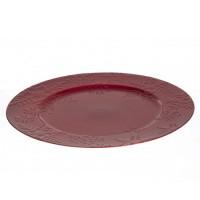 Bajo plato resina redondo rojo borde copos de nieve Flake 33cm