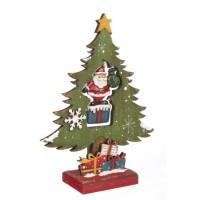Figura navideña madera forma Pino con Papa Noel colores 17,5x6x22h cm