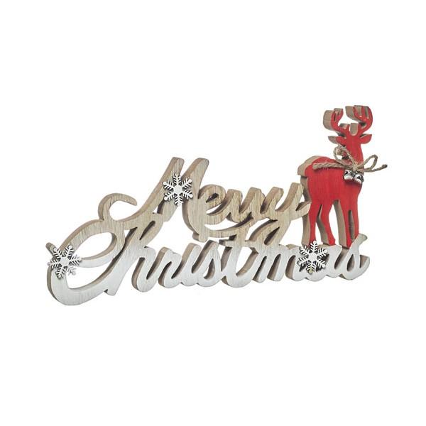 Adorno de Navidad letras madera con reno Merry Christmas 29x2x15h cm