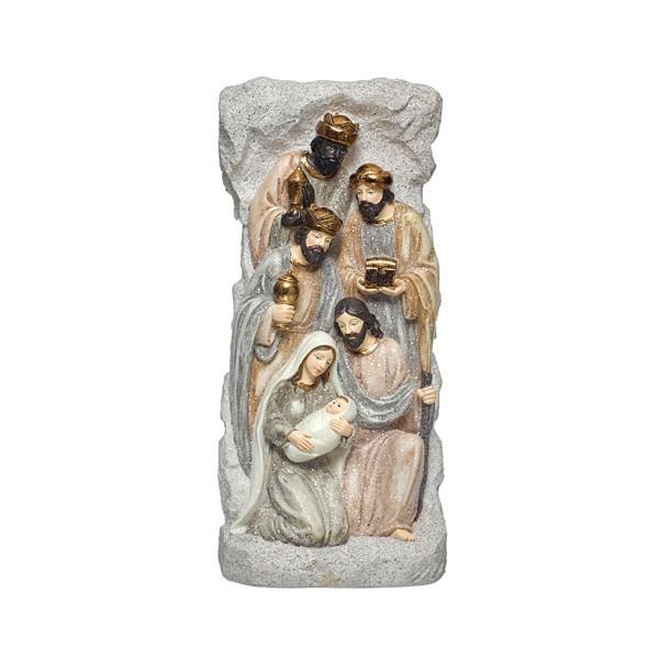 Belén navideño Misterio resina beige con Reyes Magos con corona dorada 15x8x30h cm