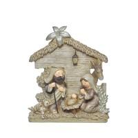 Belén navideño Misterio resina beige y dorado con purpurina 15x5x18h cm