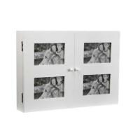 Tapa cubre contadores madera blanca con 4 marcos de fotos 46x8.5x33h cm