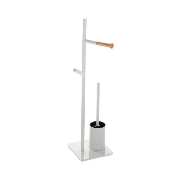 Soporte papel WC con escobillero metálico y madera natural 20x20x72h cm