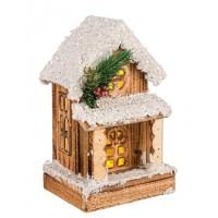Casita de madera nevada Navideña con porche y luz led Domus 14x11x23h cm
