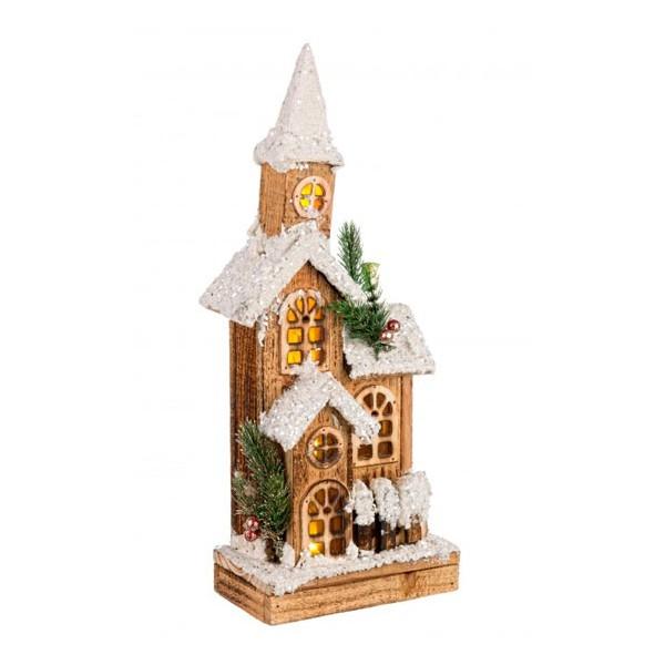 Casita iglesia de madera nevada Navideña con torreta y luz led Domus 16x9x40h cm