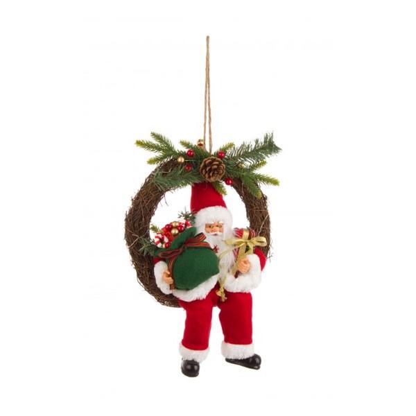 Corona Navidad Nikolaus con luces led ramas con Papa Noel sentado con piñas y bolitas rojas 30cm