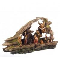 Belén navideño Misterio resina Miracle con Reyes Magos y ángel con luz 39x11x23h cm