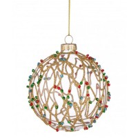 Bola árbol de Navidad cristal lineas doradas con decoración abalorios colores 8cm