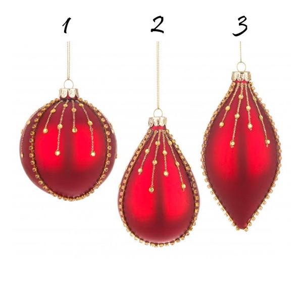 Bola árbol de Navidad cristal rojo con decoración piedras doradas 3 formas 8cm