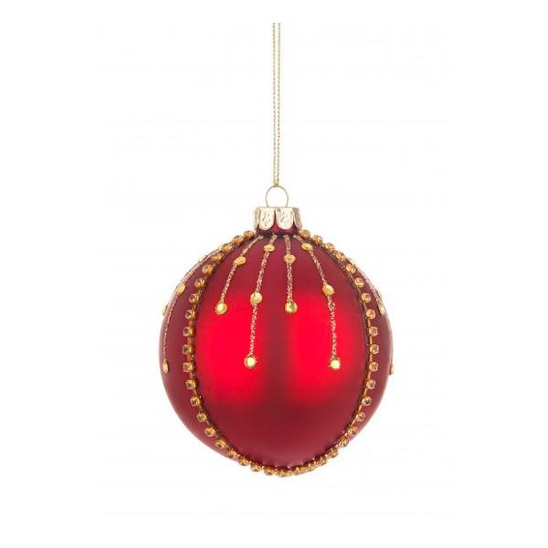 Bola árbol de Navidad cristal rojo con decoración piedras doradas 8cm