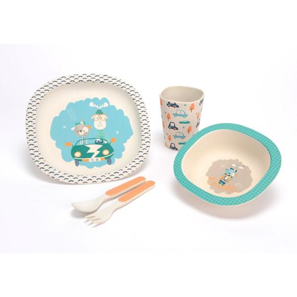 Vajilla infantil fibra de bambú Peter tonos azules 5 piezas