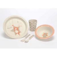 Vajilla infantil fibra de bambú Circo Leo tonos beige y naranja 5 piezas