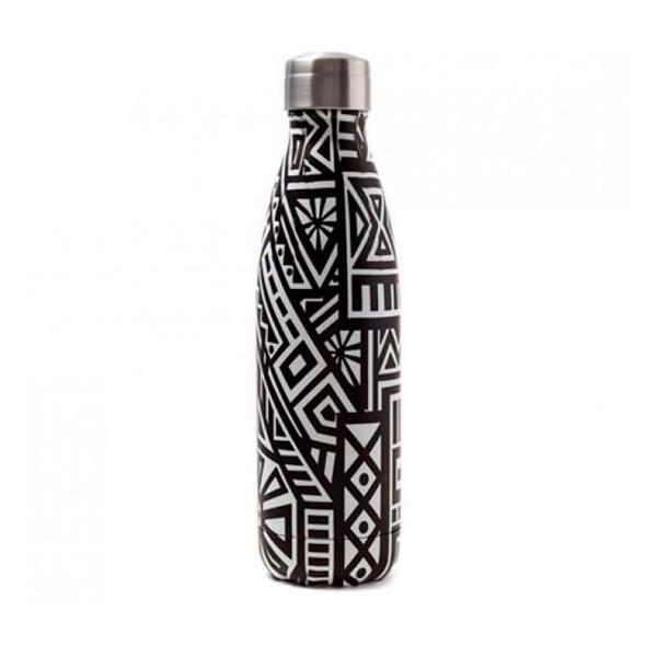 Botella isotérmica acero inoxidable estampado étnico blanco y negro Ethnic Yoko Design 500ml