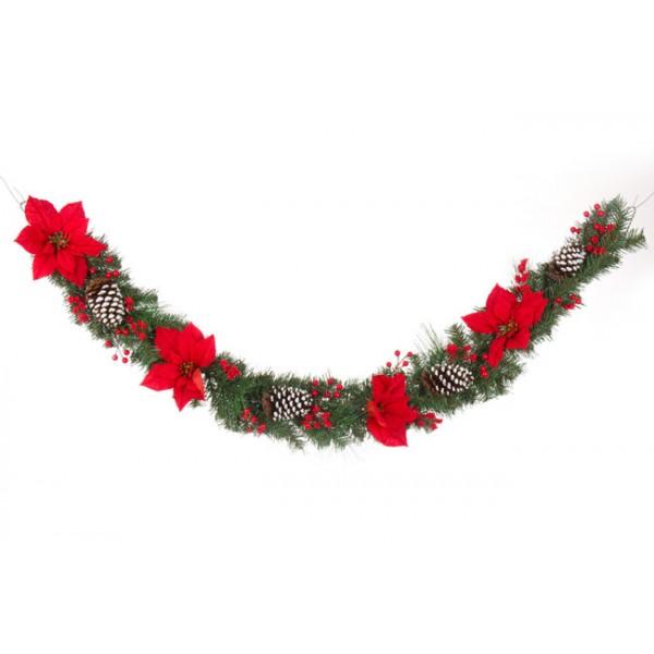 Boa guirnalda Navidad Ada Ponsetias rojas 180 cm