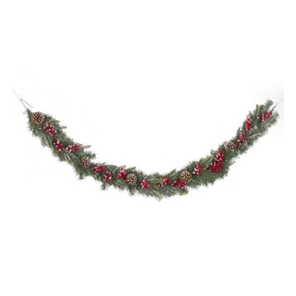 Boa Guirnalda Navidad Emy Con Bolas Rojas Y Pinas Escarchadas 180 Cm - Guirnalda-navidad
