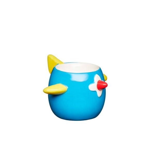Soporte para huevo infantil en cerámica con forma de avión azul