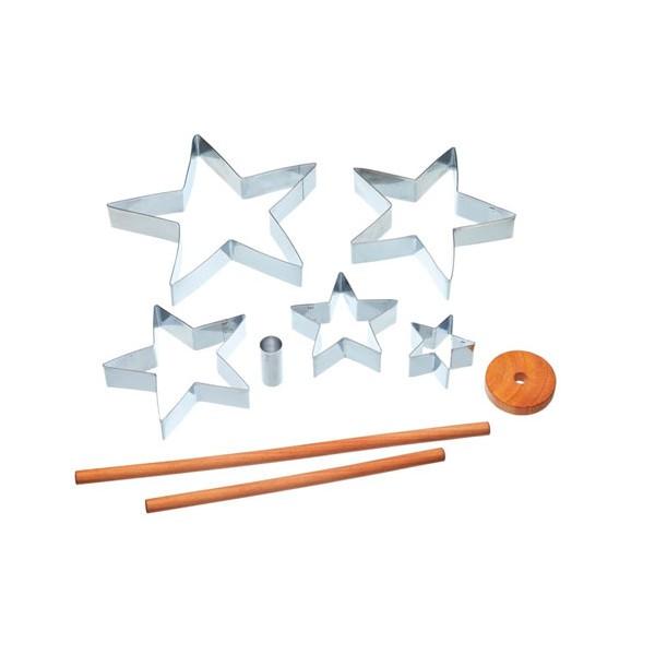 Set 5 cortadores metálicos forma estrella distintos tamaños para montar árbol Navidad 3D