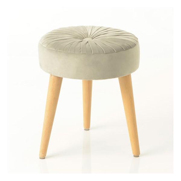 Taburete puff redondo patas madera y textil terciopelo gris con pliegues Ø37x41h cm
