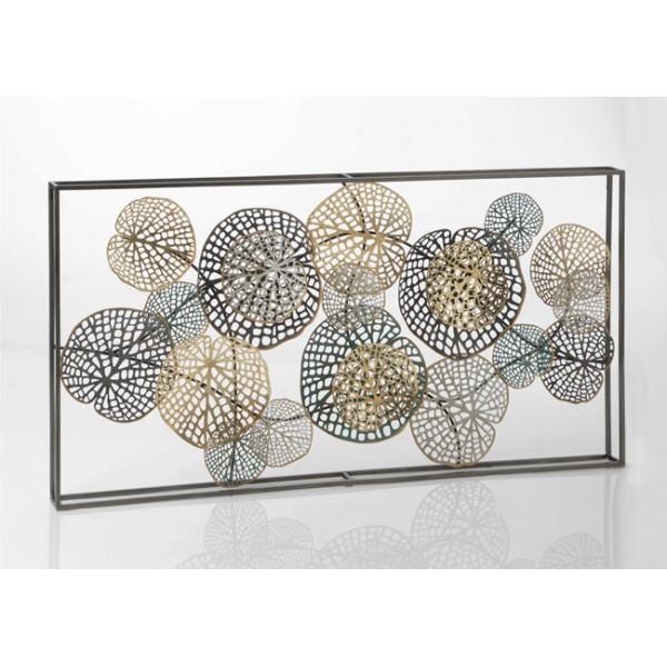 Cuadro mural composición metálica hojas nenúfar plata y dorado Ailleurs 135x69h cm