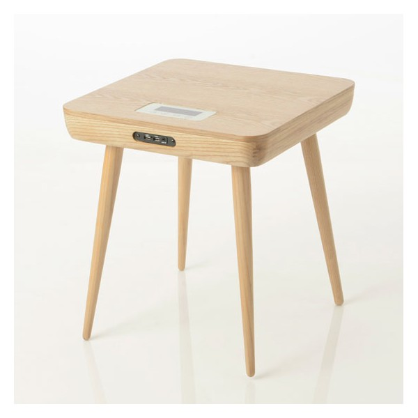 Mesa auxiliar cuadrada madera natural multimedia audio 46x46x50h cm