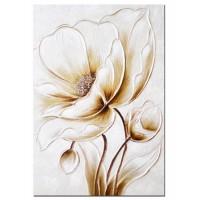 Lienzo cuadro rectangular flor dorada relieve 50x3x70 cm