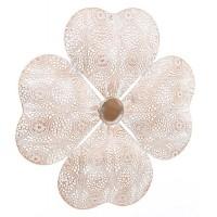Cuadro adorno metálico forma flor relieve dorado y blanco Ø27x2 cm