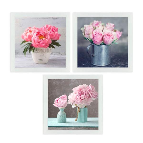 Cuadro fotoimpresión con marco jarrones con flores rosas 3 modelos 30x1,5x30 cm