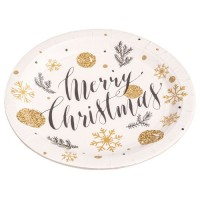 Platos papel redondos 23cm 8 unidades estampado Navidad Merry Christmas