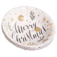 Platos hondo cuenco papel redondo 16cm 8 unidades estampado Navidad Merry Christmas