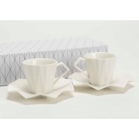 Set 6 tazas de café con plato en porcelana blanca Diamond 100ml
