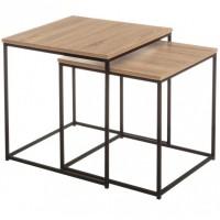 Set 2 mesas auxiliares cuadradas estructura metálica y madera dm 50x50x50h 45x45x45h cm