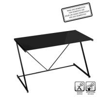 Mesa escritorio cristal templado negro 120x60x75cm