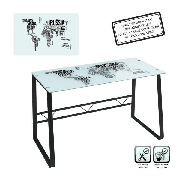 Mesa escritorio cristal templado Countries World estampado en blanco y negro 120x60x75cm