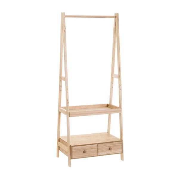 Perchero de pie madera paulonia con 2 baldas y 2 cajones 60x40x150h cm