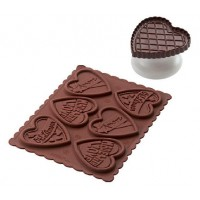 Molde silicona galletas chocolate + cortador forma corazón Silikomart