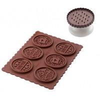 Stampo cioccolato in silicone + fresa biscotto tondo Dolce Vita Silikomart