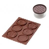 Molde silicona galletas chocolate + cortador redondo Cookie Cho Xmas Silikomart